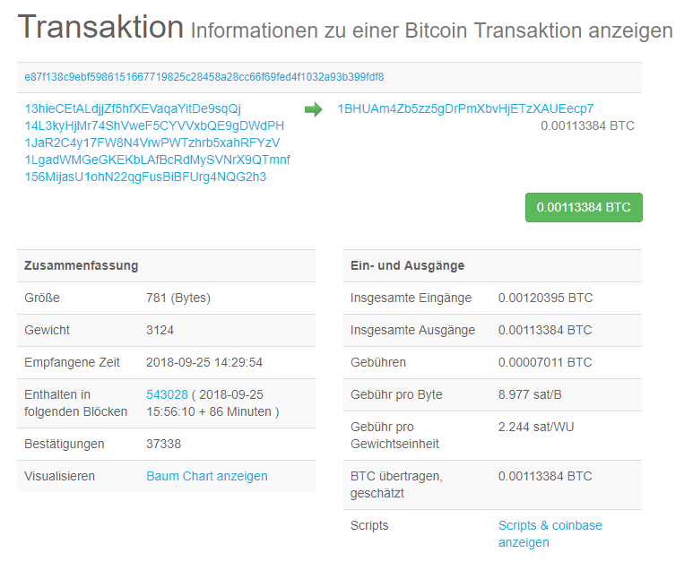Transaktion auf der Blockchain