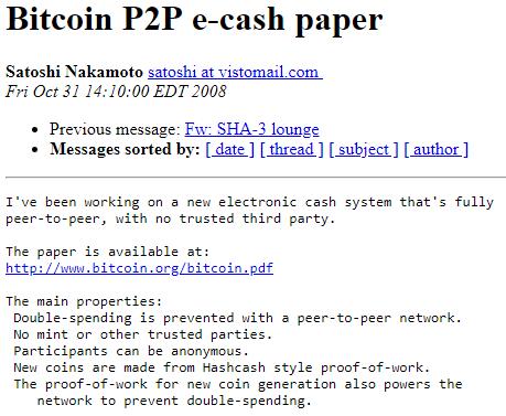Satoshi Nakamoto e-cash Paper